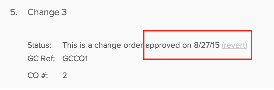 Undo errors when dealing with change orders