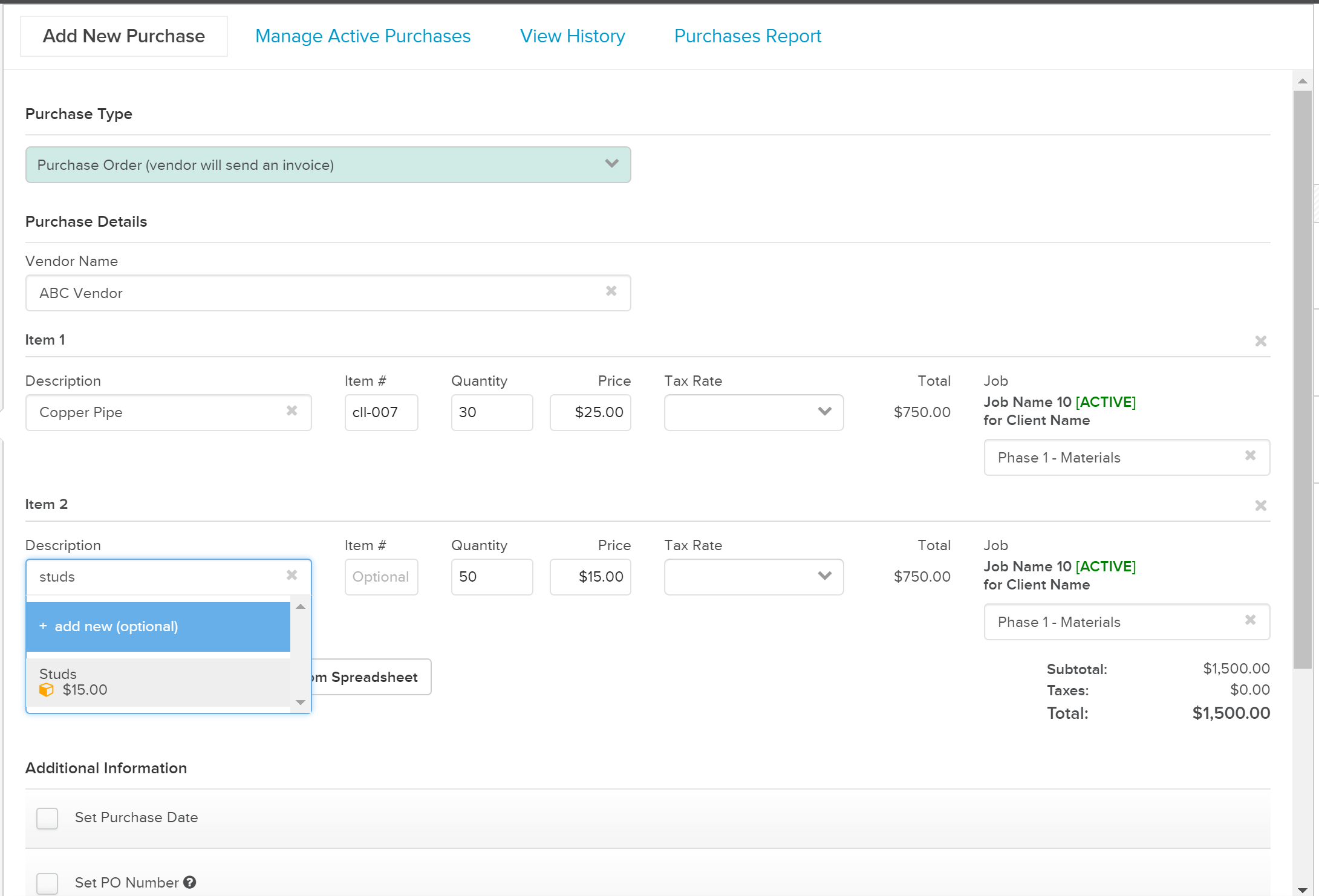 AddNewPurchase_Build Managing Purchase Orders in Knowify