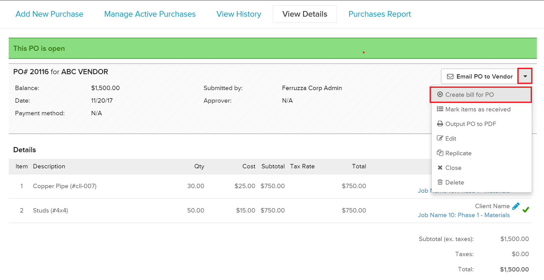 CreateBillfromPO Managing Purchase Orders in Knowify