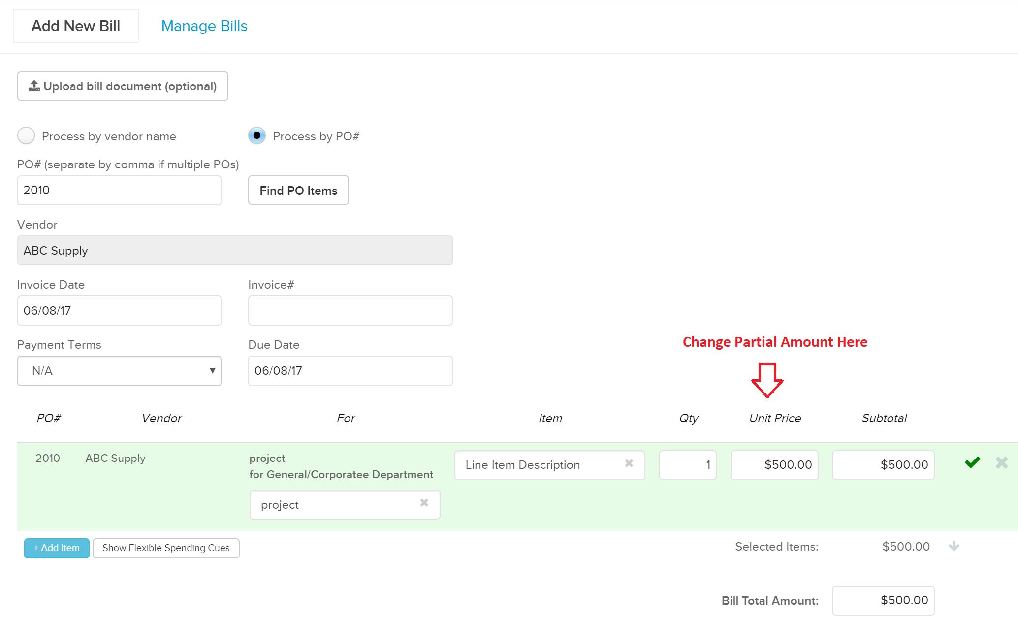 FlexSpend2 How to log multiple bills against a flexible spending PO