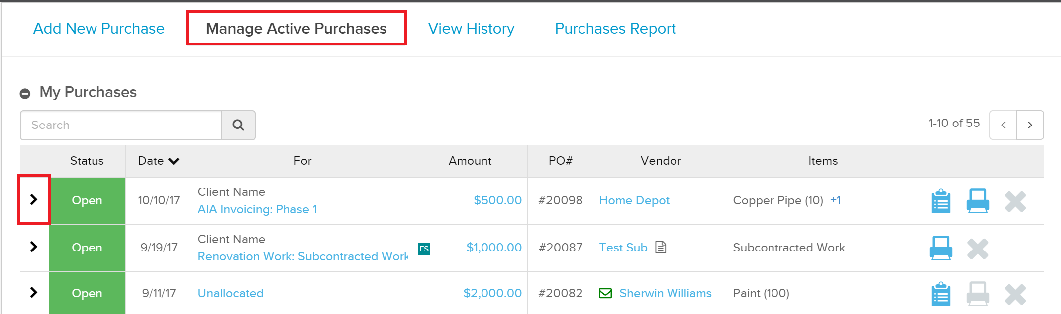 ManageActivePurchases Managing Purchase Orders in Knowify