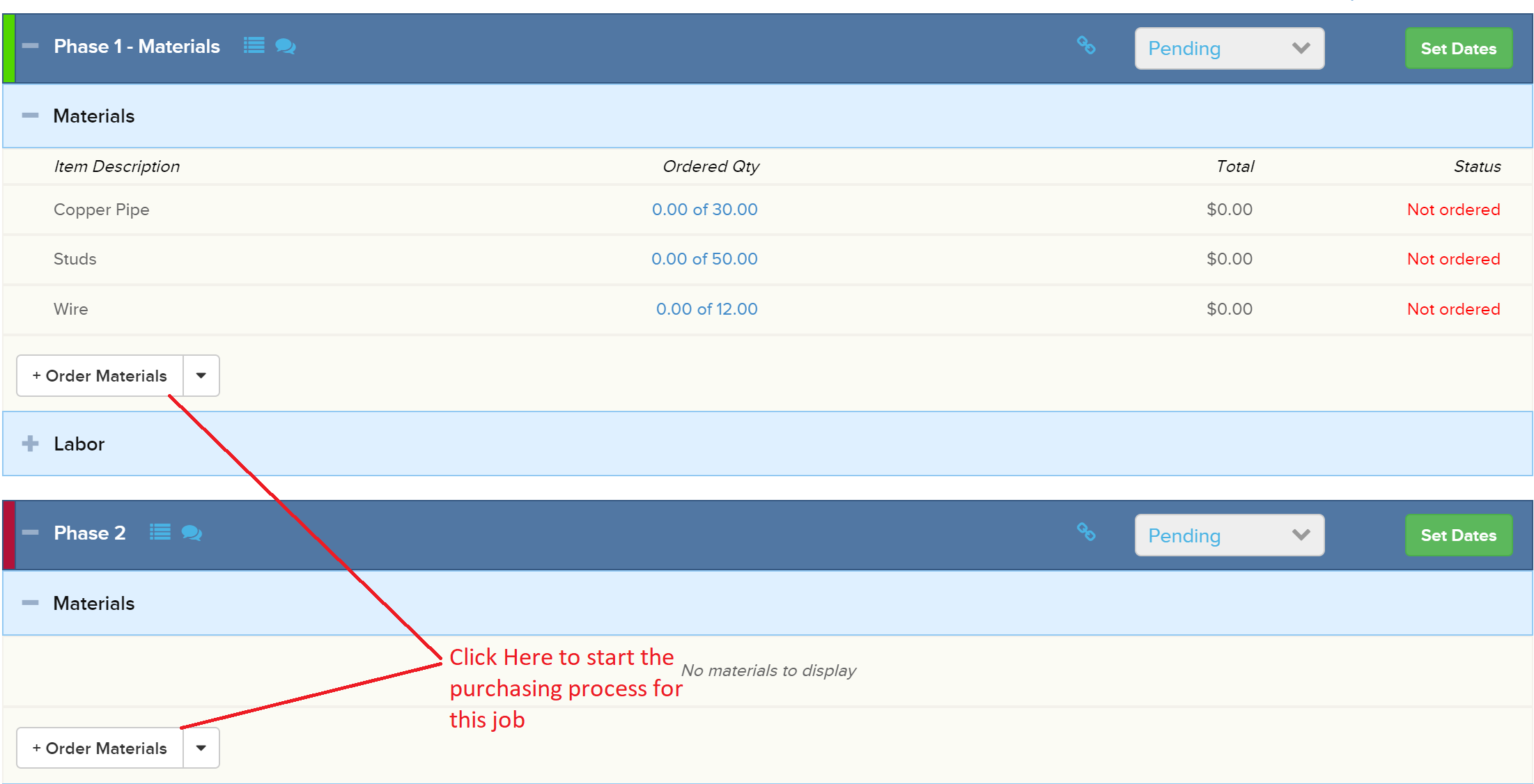OrderMaterials_JobPhase Managing Purchase Orders in Knowify