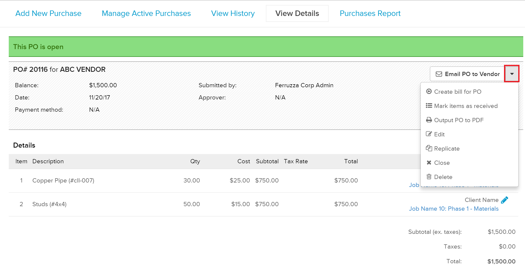PO_Options Managing Purchase Orders in Knowify
