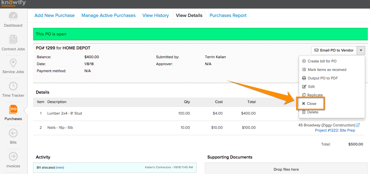 Screen-Shot-2018-01-08-at-4.28.17-PM How to Delete or Close a Purchase in Knowify