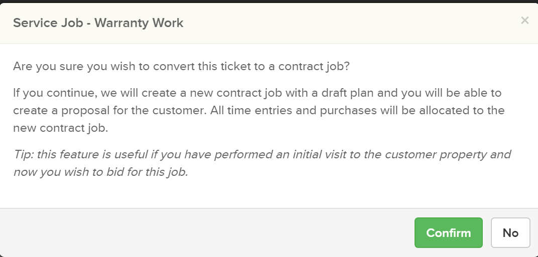 convertservicetocontract2 Converting a Service Ticket into a Contract Job