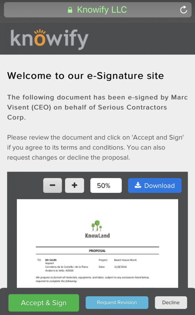 New e-Signature site