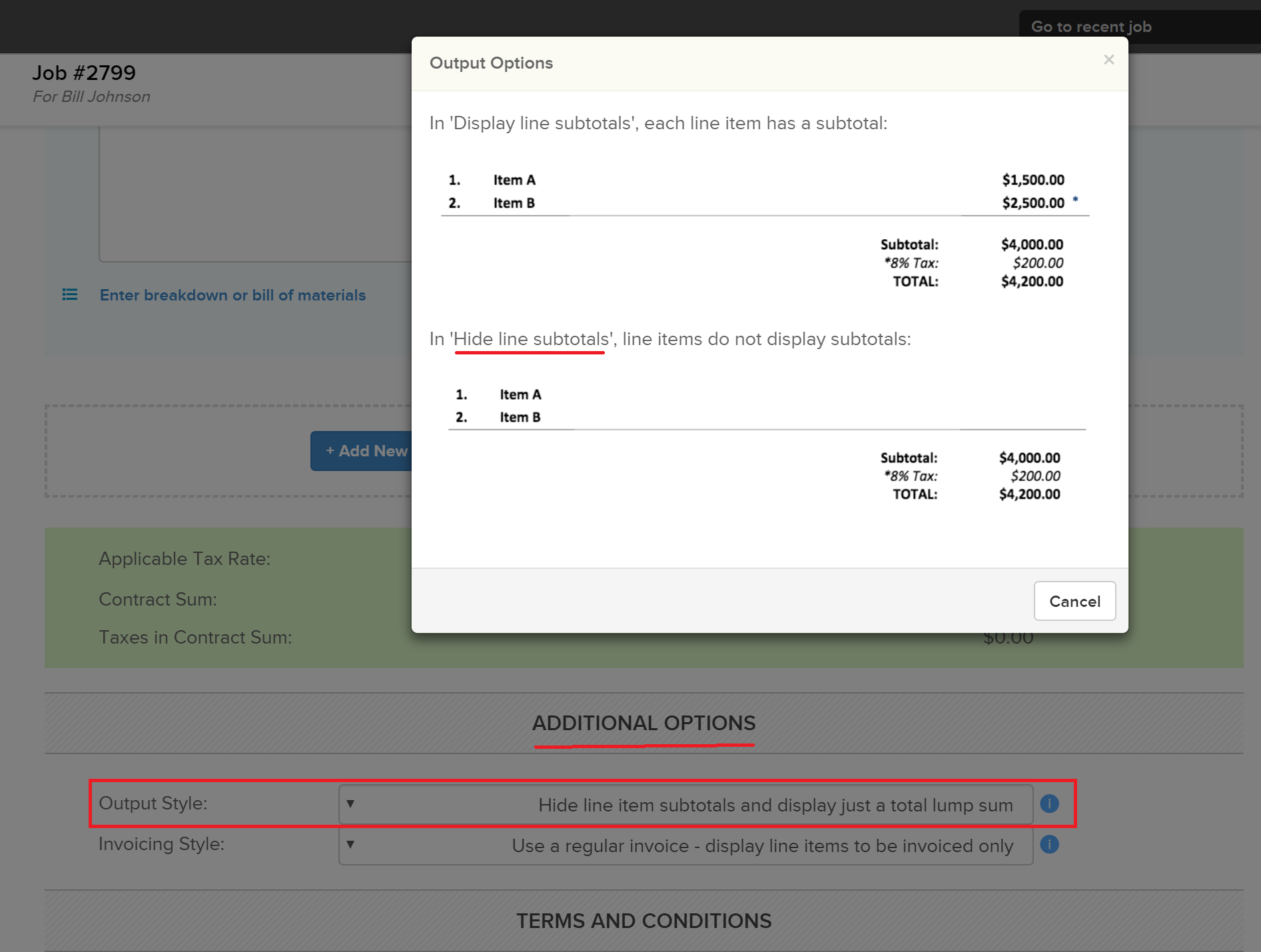 hidelineitemsubtotals_options Offering Options in Knowify Proposals