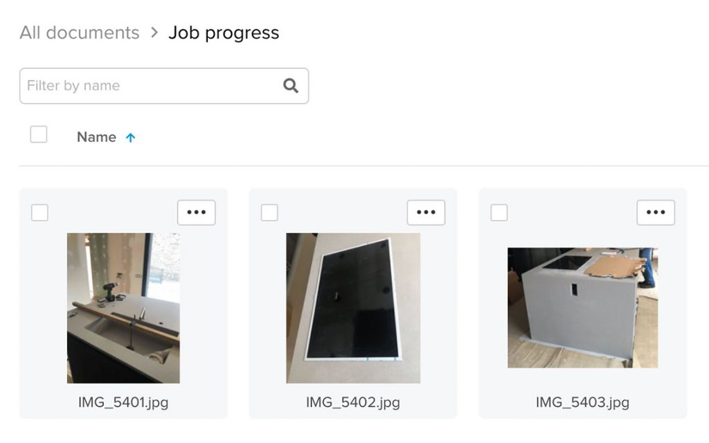 Grid view showing large thumbnails of job progress pictures | Document management | Knowify feature
