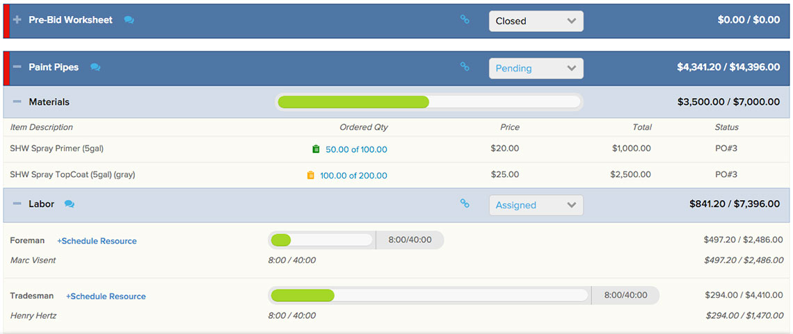 Plan & Track view displaying actuals vs. budget for a phase | Job costing | Knowify feature