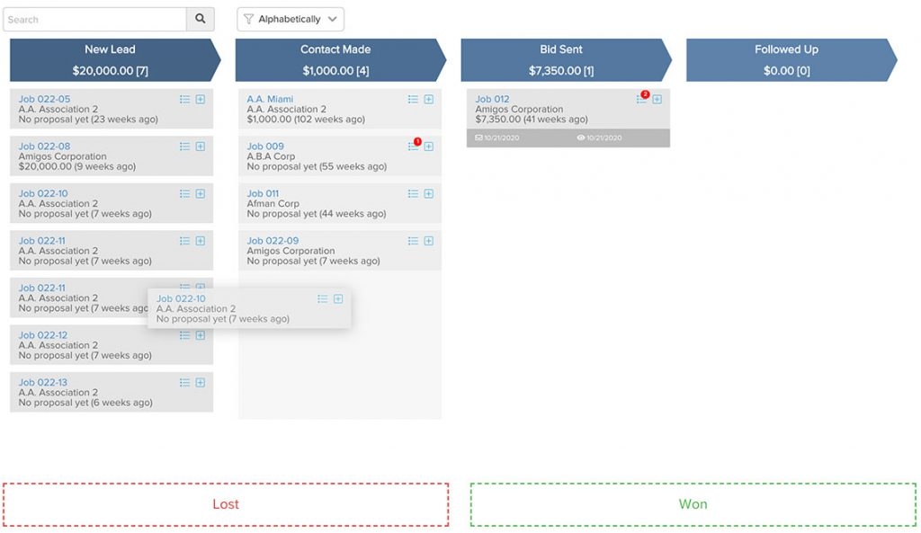 Lead pipeline: new lead, contact made, bid sent, followed up, lost, won   Lead management   Knowify feature