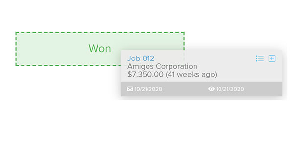Marking a bid as won only by drag and dropping the job   Lead management   Knowify feature