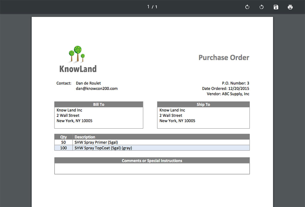 Purchase order preview | Purchasing | Knowify feature