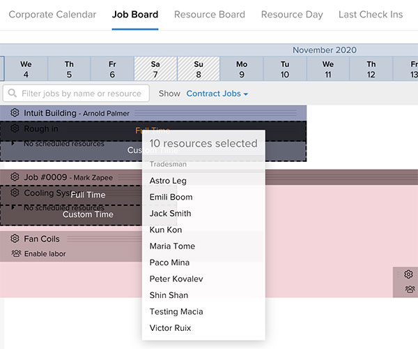 Job board section showing how to allocate multiple resources to a job | Scheduling | Knowify feature