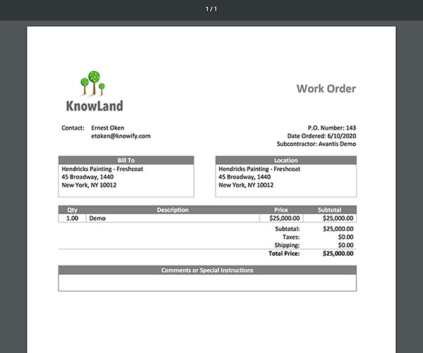 Example of a work order | Subcontractor management | Knowify feature