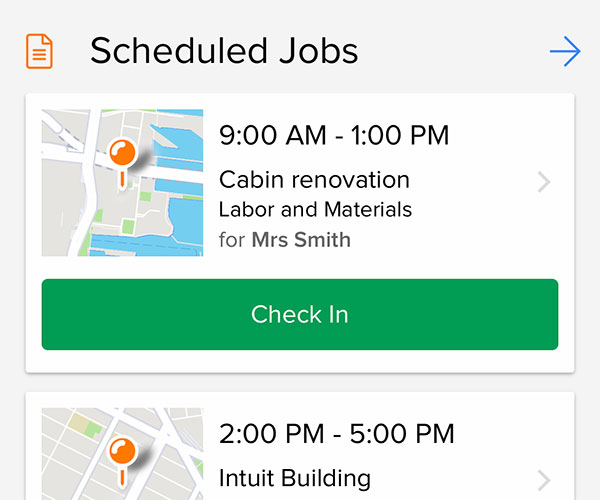 Smartphone app view displaying the list of scheduled jobs for the day | Scheduling | Knowify feature