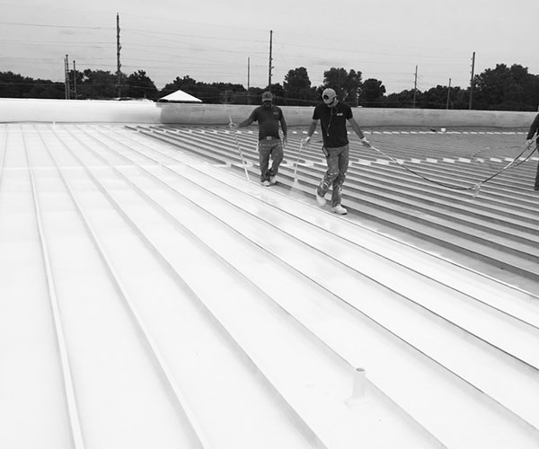 Picture of the team working on a roof | Safe Harbor Commercial Roofing | Knowify case study