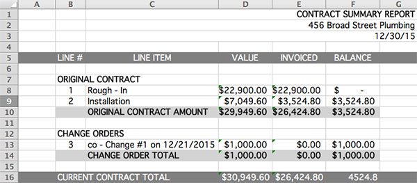 Output of the contract summary report in spreadsheet format | Progress billing | Knowify feature