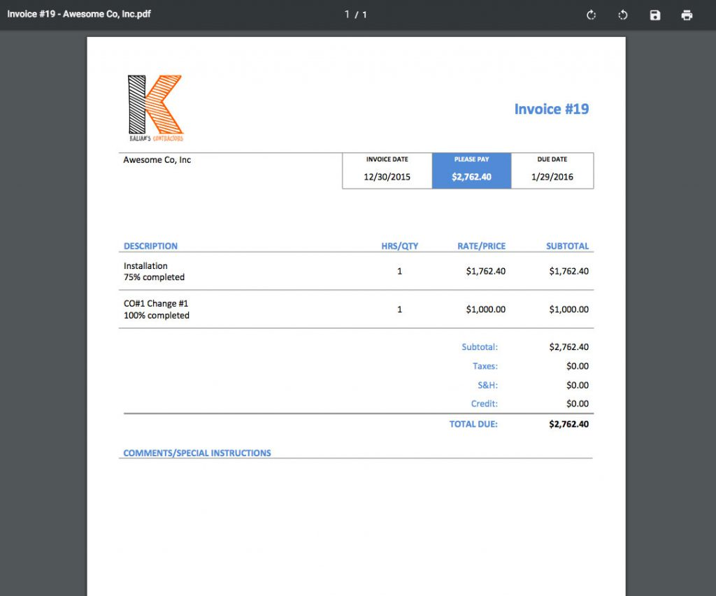 Invoice preview | Progress billing | Knowify feature