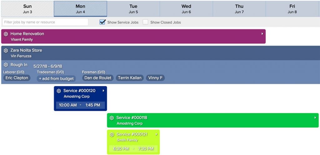 Job board scheduling view | Construction management software| Knowify
