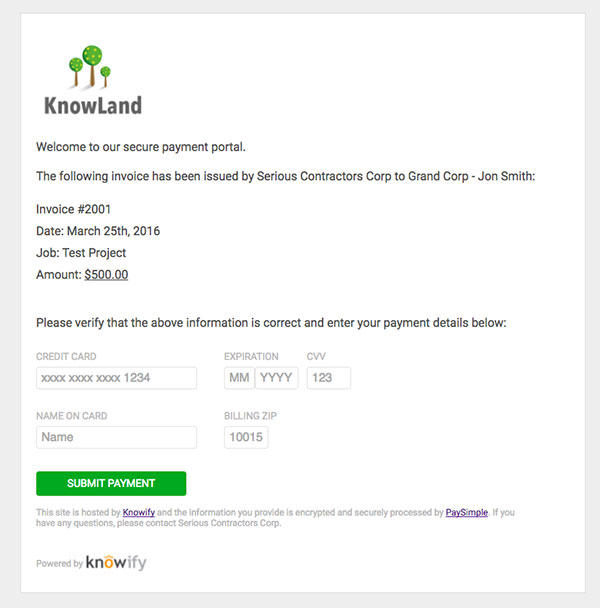 Screenshot of the secure payment portal | PaySimple | Knowify integration