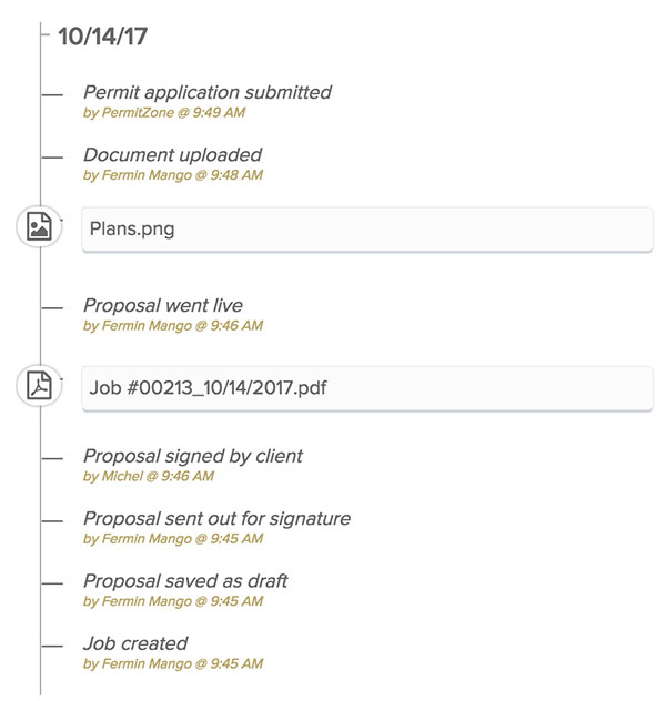 Screenshot of the Knowify logs | Permits.com | Knowify integration