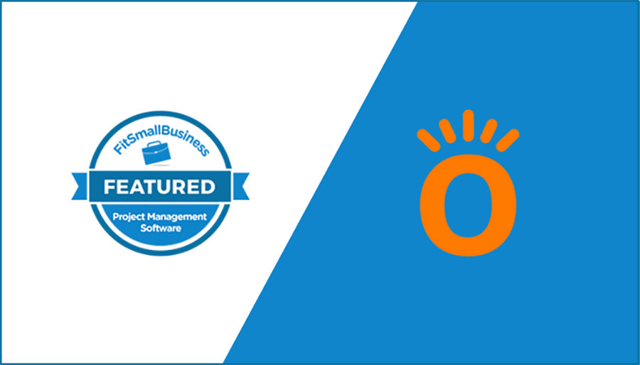 Visual of badge awarded as featured project management software by Fit Small Business | Knowify