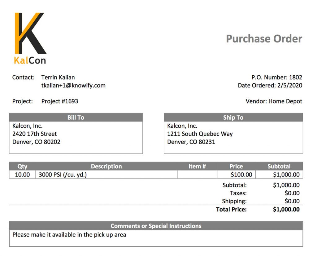 Example of a purchase order output generated with Knowify   Purchasing   Knowify