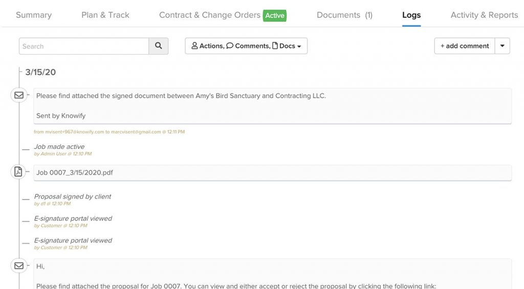 Screenshot showing how the email communications are now displayed in the logs | Job logs | Knowify