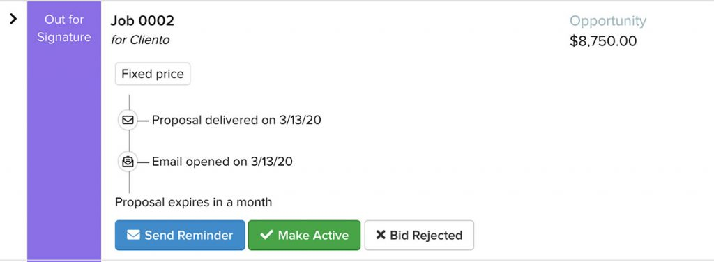 Screenshot of Contracts Jobs providing additional information on the proposal status | Bidding | Knowify