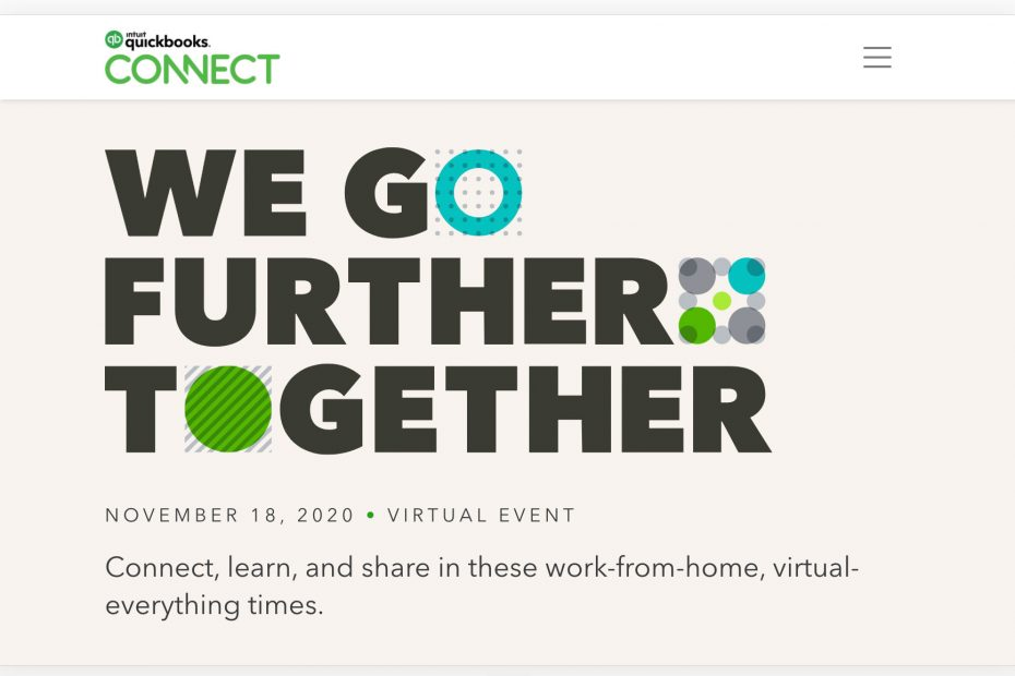 "Visual from Intuit to announce QBConnect 2020 with the message: ""We go further together"" 