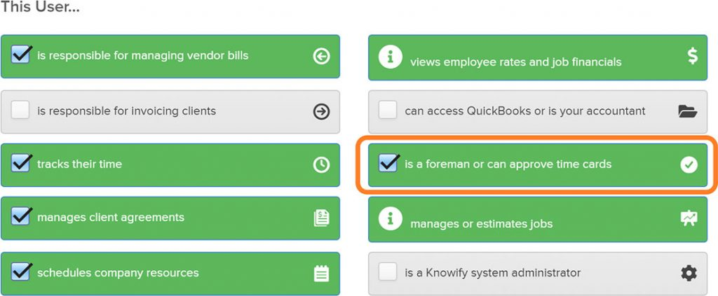 Admin section displaying permission options available | Foreman view | Knowify feature