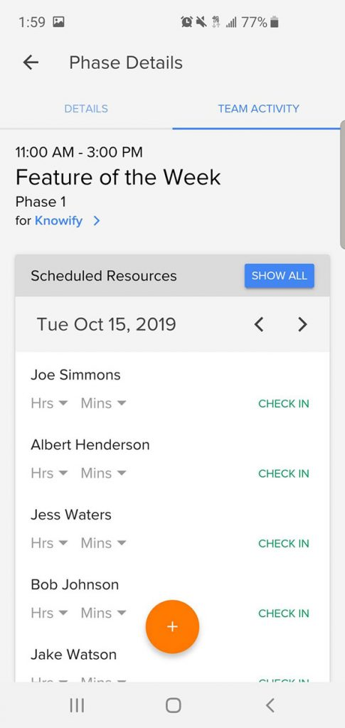 Phase details section displaying team activity (who is checked in) | Smartphone app | Knowify feature
