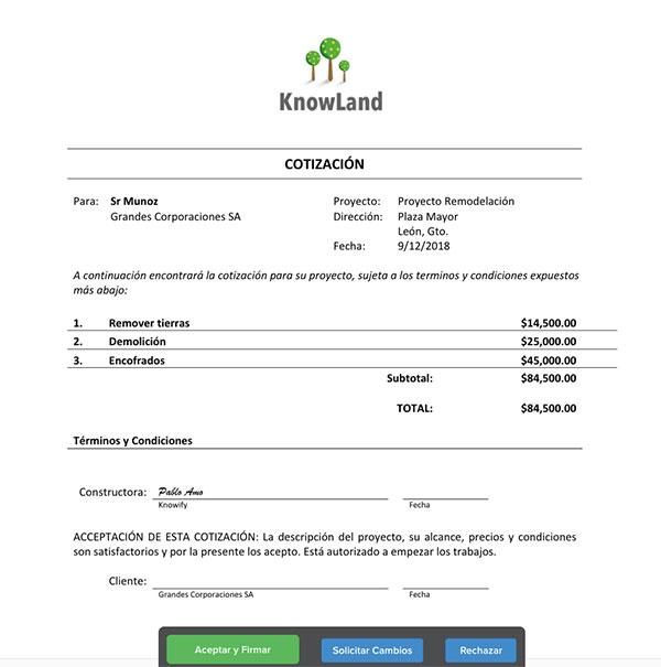 Ejemplo de cotización en el portal de firma electrónica | Cotización | Knowify