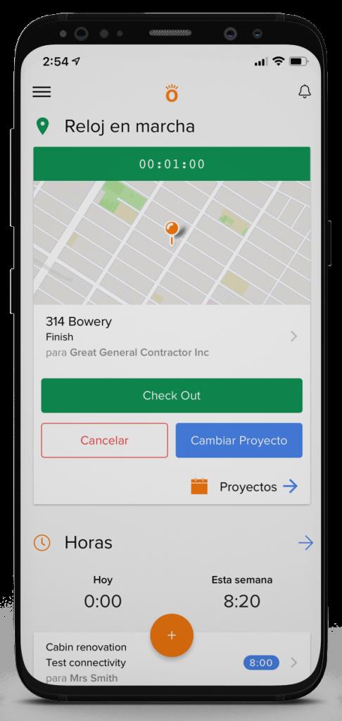 Vista de la aplicación móvil para recuento de tiempo | Time tracking | Knowify