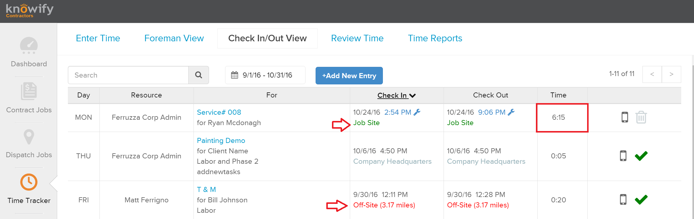 knowify blog can see in the screenshot above we display the day employee job and job phase they checked in for a timestamp of when they checked in and out