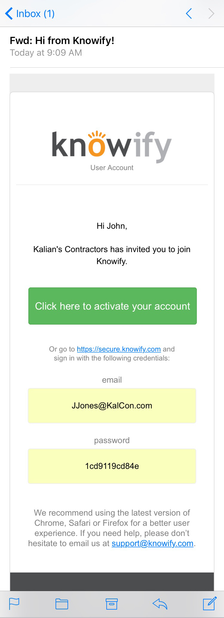KnowifyInvitationEmail Getting Employees Setup on Knowify's Smartphone App