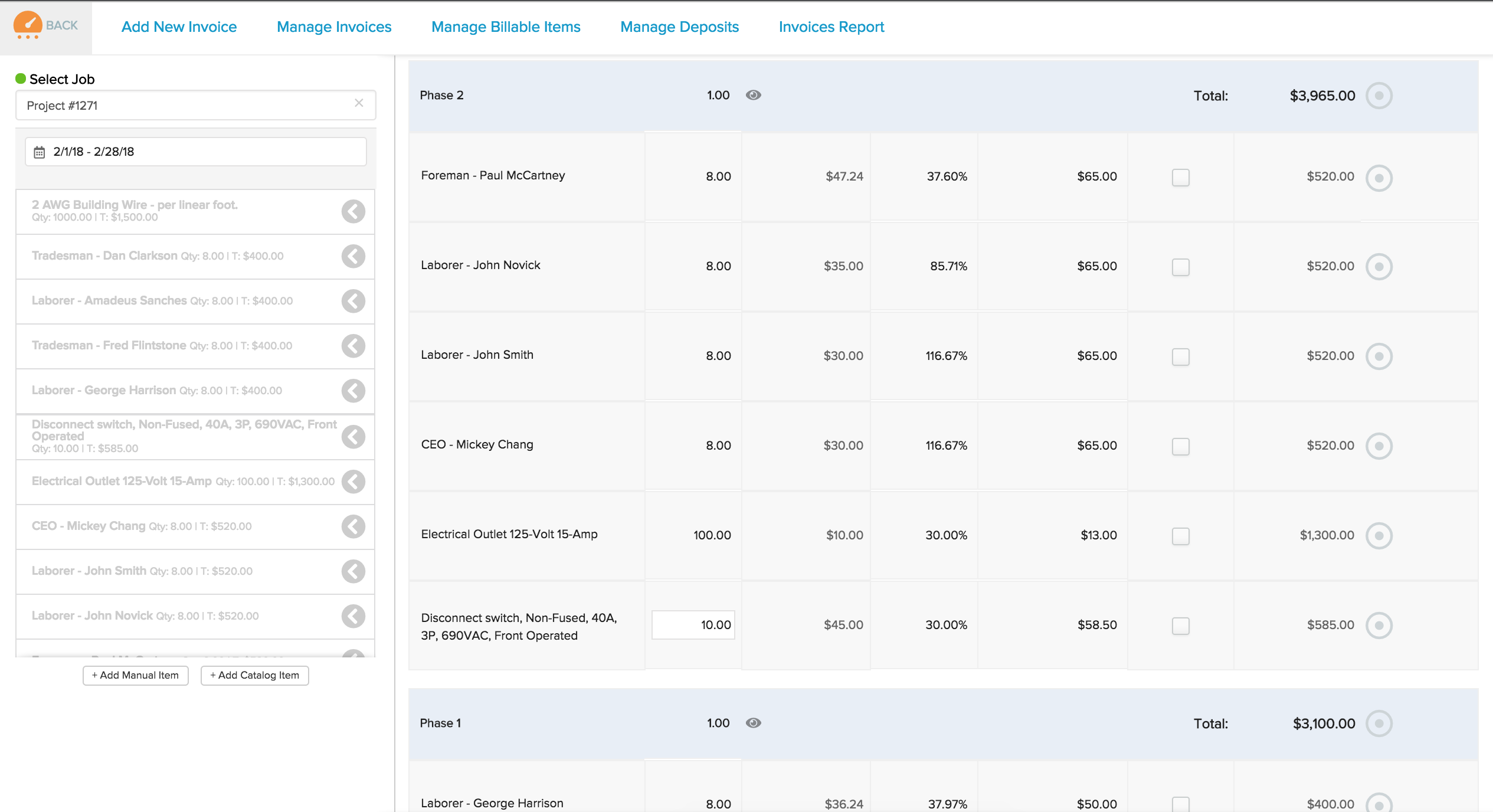 Grouping options on cost plus invoices knowify for Cost plus a fee contract form for homebuilding