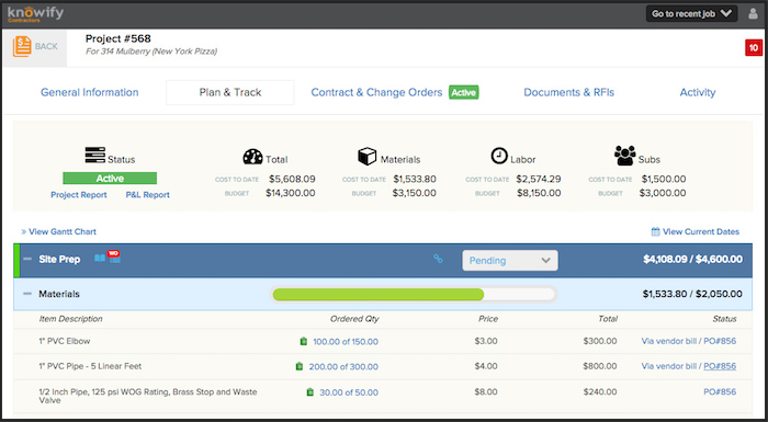 Screenshot from the Knowify web app displaying a project plan with tracking information.